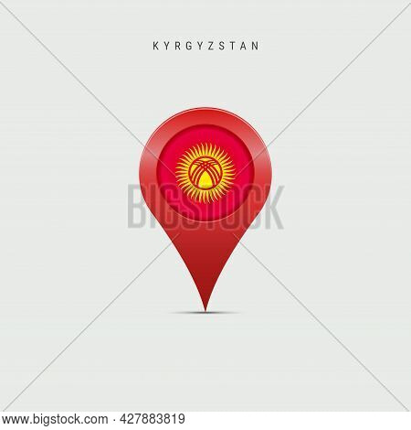 Teardrop Map Marker With Flag Of Kyrgyzstan. Kyrgyz Flag Inserted In The Location Map Pin. 3d Vector