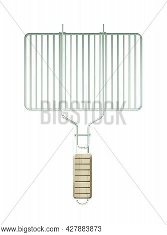 Vector Realistic Metal Grill Grate With Wooden Handle Isolated On White Background