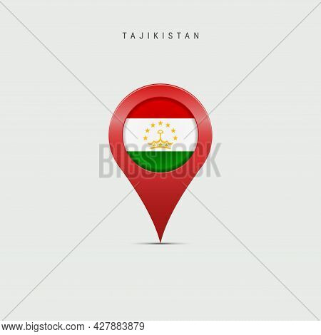 Teardrop Map Marker With Flag Of Tajikistan. Tajik Flag Inserted In The Location Map Pin. 3d Vector