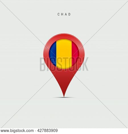 Teardrop Map Marker With Flag Of Chad. Chadian Flag Inserted In The Location Map Pin. 3d Vector Illu