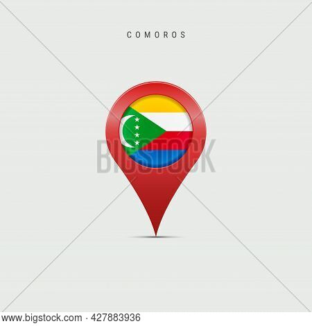 Teardrop Map Marker With Flag Of Comoros. Union Of The Comoros Flag Inserted In The Location Map Pin