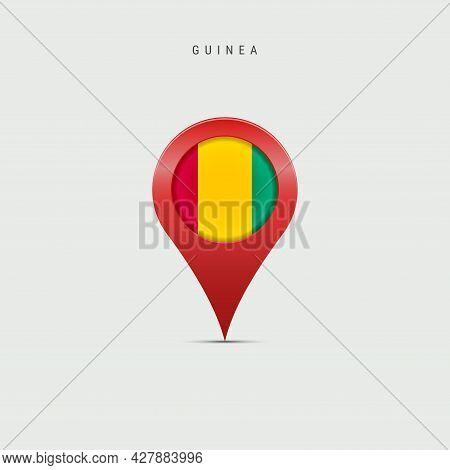 Teardrop Map Marker With Flag Of Guinea. Republic Of Guinea Flag Inserted In The Location Map Pin. 3