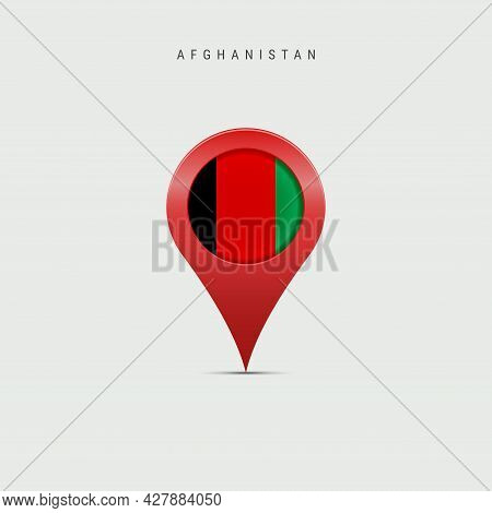 Teardrop Map Marker With Flag Of Afghanistan. Afghan Flag Inserted In The Location Map Pin. 3d Vecto