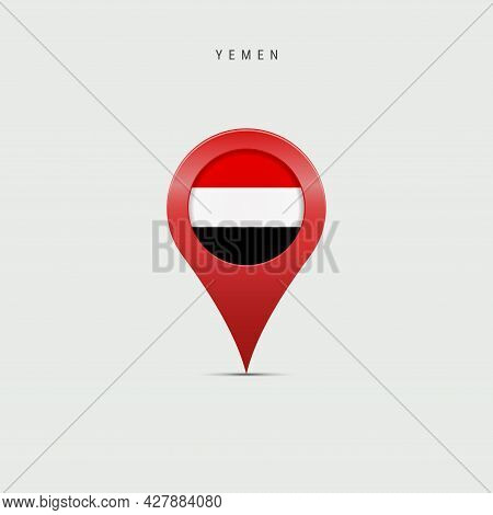 Teardrop Map Marker With Flag Of Yemen. Yemeni Flag Inserted In The Location Map Pin. 3d Vector Illu
