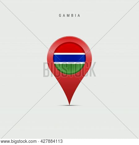 Teardrop Map Marker With Flag Of Gambia. Gambian Flag Inserted In The Location Map Pin. 3d Vector Il
