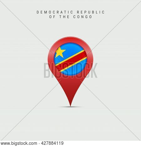 Teardrop Map Marker With Flag Of Democratic Republic Of The Congo. Dr Congo Flag Inserted In The Loc