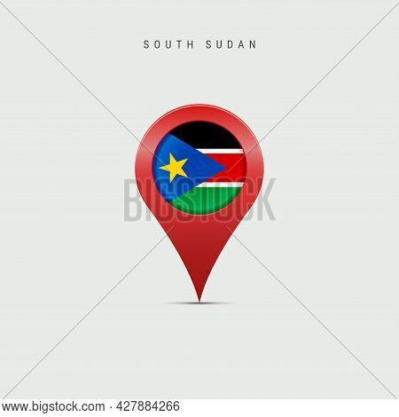 Teardrop Map Marker With Flag Of South Sudan. South Sudanese Flag Inserted In The Location Map Pin.