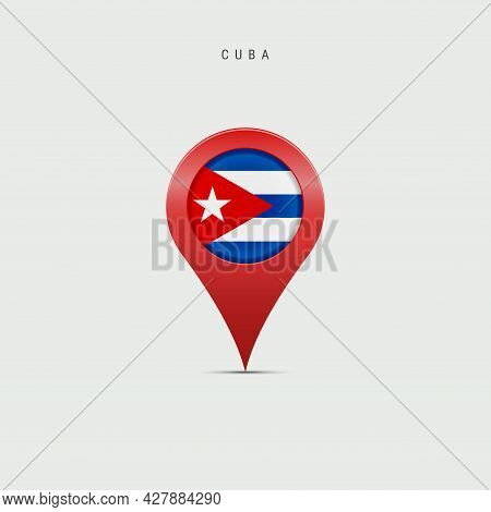 Teardrop Map Marker With Flag Of Cuba. Cuban Flag Inserted In The Location Map Pin. 3d Vector Illust