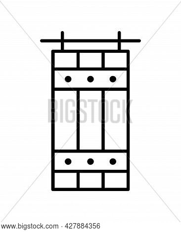 Barn Sliding Wooden Door In Old Vintage Rustic Style. Line Icon Isolated On White Background. Interi