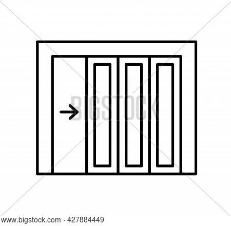Side Sliding Sectional Garage Door. Black & White Vector Illustration. Line Icon Of Warehouse Gate.