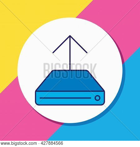 Illustration Of Upload Icon Colored Line. Beautiful Network Element Also Can Be Used As Hdd Uploadin