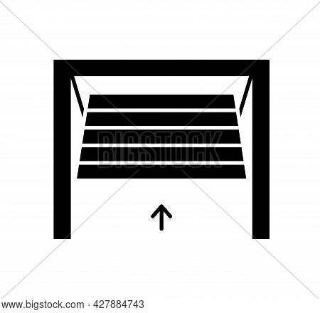 Tilt Up Canopy Garage Door. Black & White Vector Illustration. Flat Icon Of Warehouse Gate. Symbol F