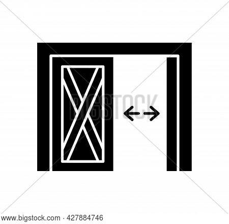 Side Hinged Vintage Garage Door. Black & White Vector Illustration. Flat Icon Of Warehouse Gate. Sym