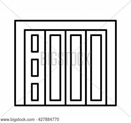 Side Sliding Sectional Garage Door. Black & White Vector Illustration. Line Icon Of Closed Warehouse