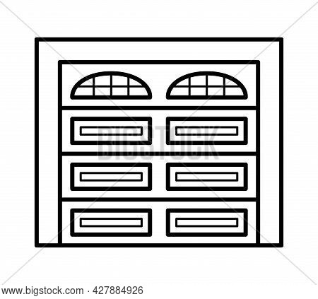 Sectional Garage Door. Black & White Vector Illustration. Line Icon Of Warehouse Closed Gate. Symbol