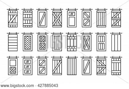Barn Sliding Wooden Doors In Old Vintage Rustic Style. Line Icon Set. Isolated Objects On White Back