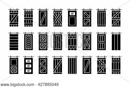 Barn Sliding Wooden Doors In Old Vintage Rustic Style. Flat Icon Set. Isolated Objects On White Back