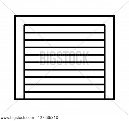 Rolling Up Garage Door. Black & White Vector Illustration. Line Icon Of Closed Warehouse Gate. Symbo