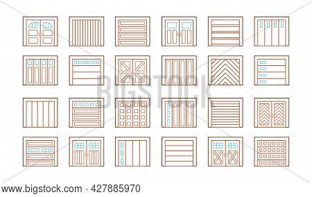 Wooden Garage Doors Closed. Line Icon Set. Various Types Of Warehouse Or Workshop Gates. Vector Illu