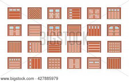 Wooden Garage Doors Closed. Flat Icon Set. Various Types Of Warehouse Or Workshop Gates. Vector Illu