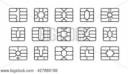 Emv Chip. Credit And Debit Card Elements. Vector Line Icon Set. Smart Card Microchips For Terminals