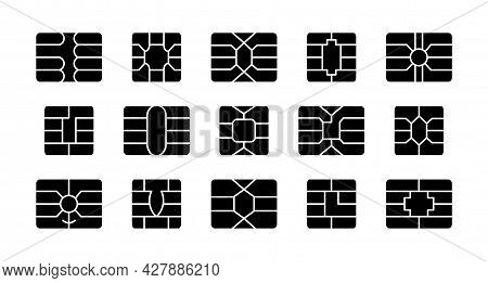 Emv Chip. Credit And Debit Card Elements. Vector Flat Icon Set. Smart Card Microchips For Terminals