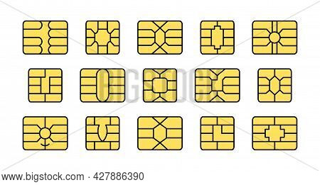 Emv Chip. Credit And Debit Card Elements. Vector Flat Colorful Icon Set. Smart Card Golden Microchip