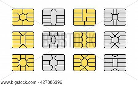 Emv Chip. Credit And Debit Card Elements. Vector Flat Icon Set. Smart Card Golden And Silver Microch