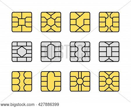 Emv Chip. Credit And Debit Card Elements. Vector Flat Icon Set. Smart Card Yellow And Grey Microchip
