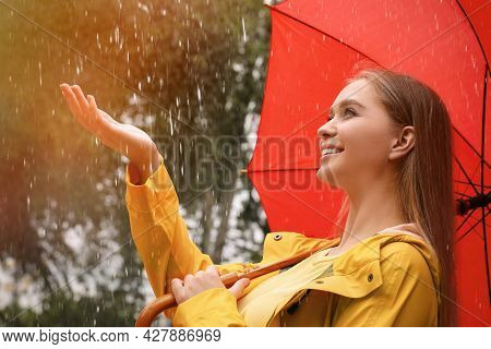 Young Woman With Umbrella Walking Under Rain In Park