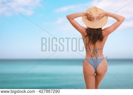 Beautiful Woman In Stylish Bikini Beach Near Sea, Back View