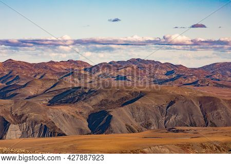 Barren Arctic Tundra Landscape Of Richardson Mountains Range Near Dempster Hwy In Yukon - Nwt Border