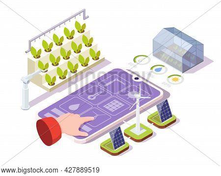 Smart Farming, Vector Isometric Illustration. Remote Control Organic Greenhouse. Iot, Ai Technologie