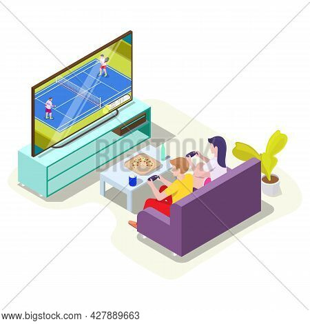 Man And Woman In Headphones Playing Tennis Video Game On Tv, Vector Isometric Illustration. Online G
