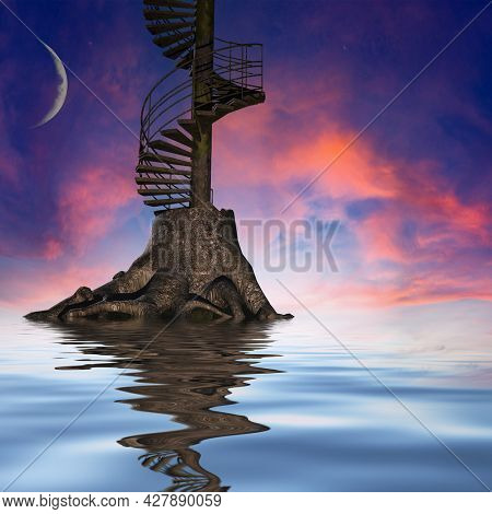 Stairway to Heaven. Spiritual art. 3D rendering
