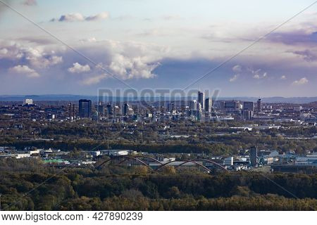 Urban Landscape Of City Of Essen Of Industrial Area Of Ruhrgebiet, North Rhine-westphalia, Germany,