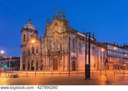 Porto, Portugal - December 02, 2019: Carmen And Carmelitas Churches With Blue And White Tiles In The