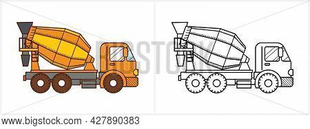 Concrete Mixer Truck Icon. Cement Mixer Truck
