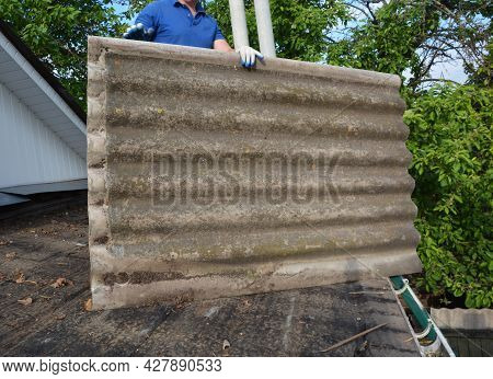 Removing And Replacing Asbestos Cement Roof. A Building Contractor Is Removing Dangerous For Health