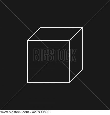 Retrofuturistic Cube. Digital Cyber Retro Design Element. Cube In Cyberpunk 80s Style. Perspective G