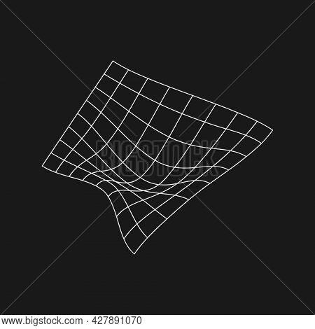 Retrofuturistic Liquid Distorted Grid . Digital Cyber Retro Design Element. Grid In Cyberpunk 80s St