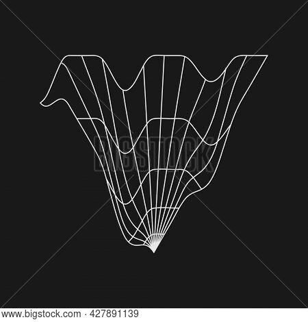 Retrofuturistic Liquid Distorted Triangle Grid. Digital Cyber Retro Design Element. Triangle Grid In