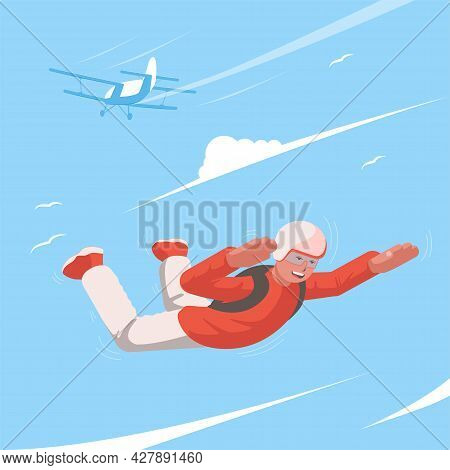 Parachutist Soars In The Sky. Skydiving. View Of A Man Flying In The Sky. In The Background A Recedi