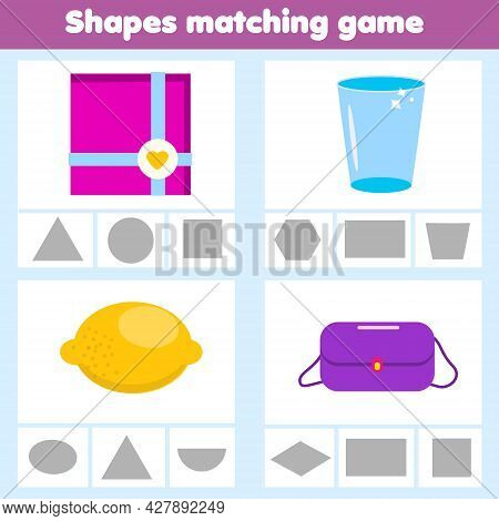 Matching Children Educational Game. Match Real Objects With Shapes. Learning Forms. Flashcards Activ