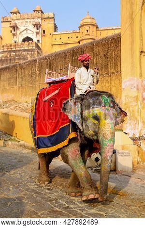 Amer, India - November 13: Unidentified Man Rides Decorated Elephant From Amber Fort On November 13,