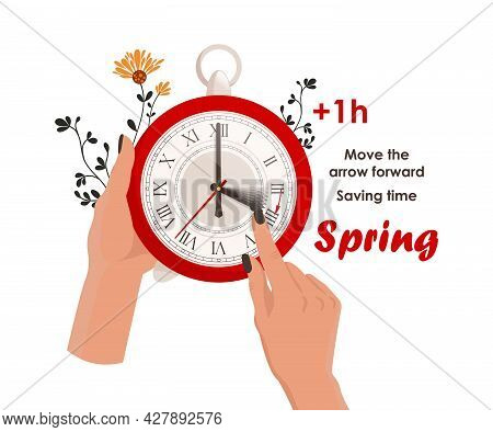 Daylight Saving Time Concept. The Clocks Moves Forward One Hour To Daylight-saving Time. Fall Back.