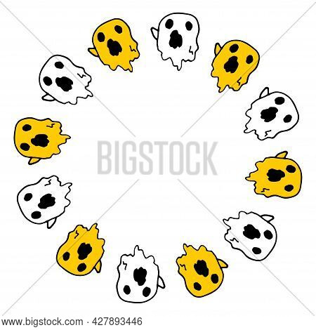 Vector Seamless Pattern From The Ghost.a Hand-drawn Doodle-style Flying Ghost Pattern In White With