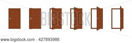 Door Open. Wooden Close Door In House Or Office. Set Of Cartoon Doorway In Front With Frame And Hand
