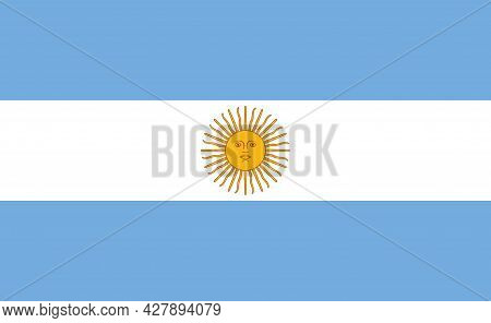 Argentina Flag. Icon Of National Of Argentina With Sol De May. Argentinian Blue White Flag With Embl