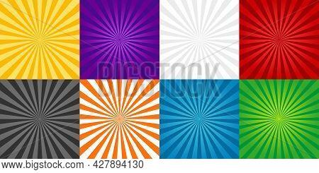 Sun Burst Background. Comic Ray Of Starburst. Set Of Red, Green, Blue, Orange And Gray Cartoon Sunbu